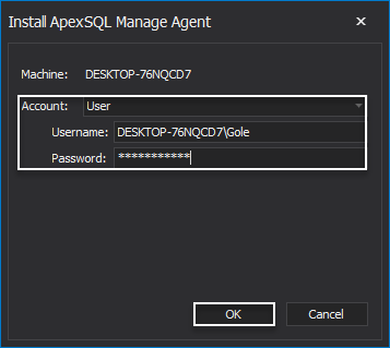 ApexSQL Manage Agent configuration step