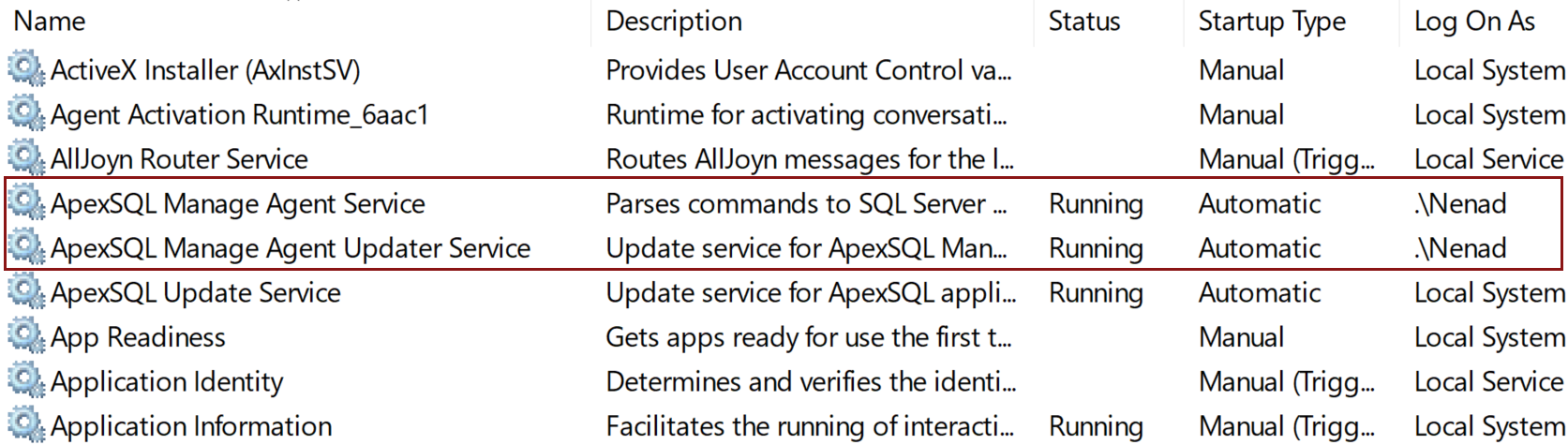 ApexSQL Manage services in Windows Services window