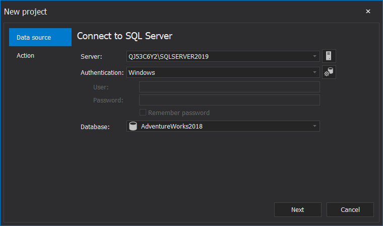ApexSQL Pump configuration of the SQL Server, Authentication and Database