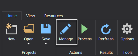 ApexSQL Pump Manage button from the Home tab to open the Manage import window