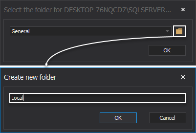 Create custom folder to assign SQL Server to