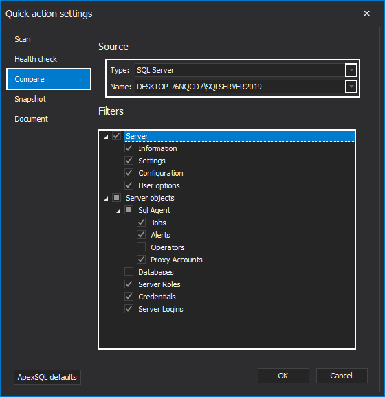 Quick compare settings in the ApexSQL Manage