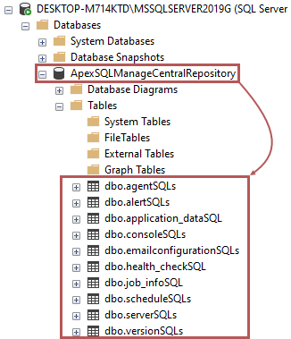SQL server instance manage tool central repository database layout in SQL Server Management Studio
