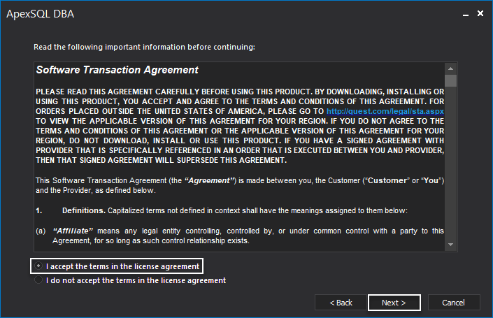 STA agreement step before installing the SQL manage instances application