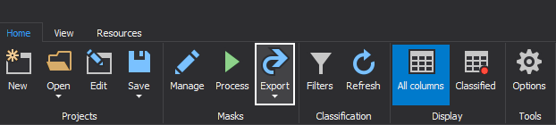 The Export button in the Home tab of this data masking toll