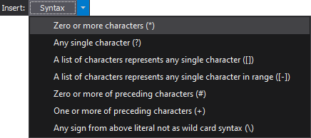 The special characters in the Wilcard editor window