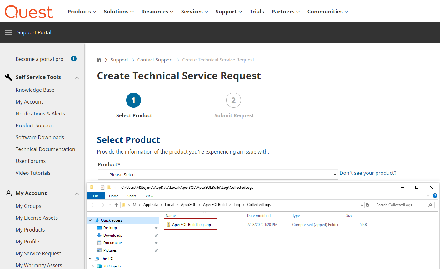 Quest service request portal and local log files folder