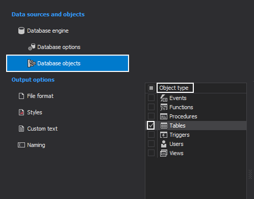 Select database object types which will be documented