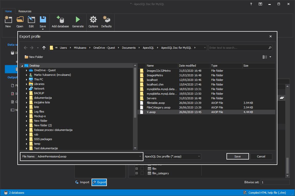 The Export profile window
