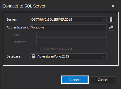 The Connect to SQL Server window