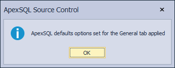 The information message when the ApexSQL defaults button is clicked