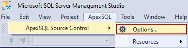 The Options command in the ApexSQL Microsoft SQL Server Management Studio add-in tools