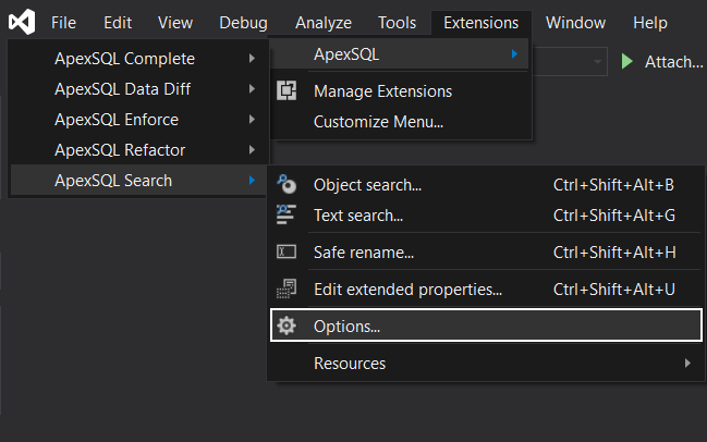 The Options command in the ApexSQL Visual Studio add-in tools