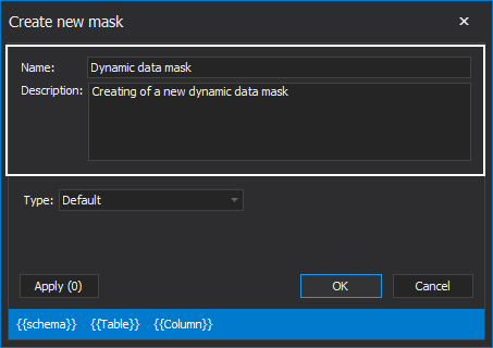 Configuring new definitin to mask SQL Server data