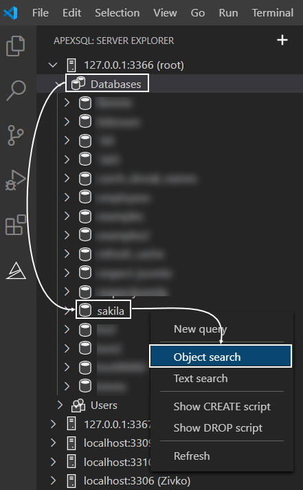 Object search command from database level context menu