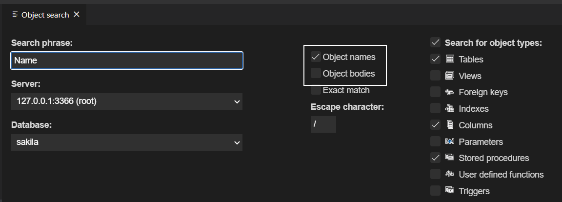 Specify search scope