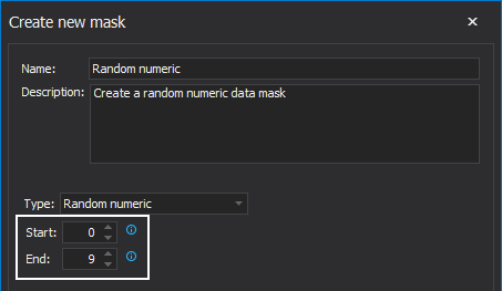 The Random numeric section in the Create new mask window