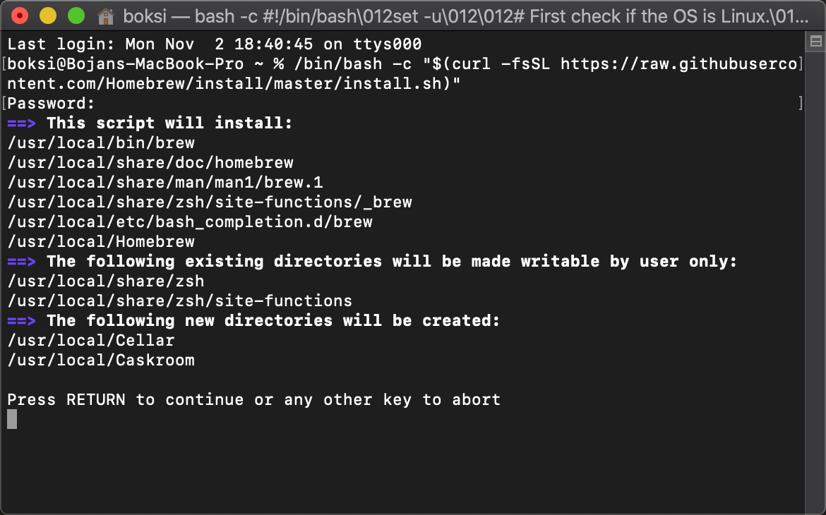 Installation of Homebrew in a macOS Terminal