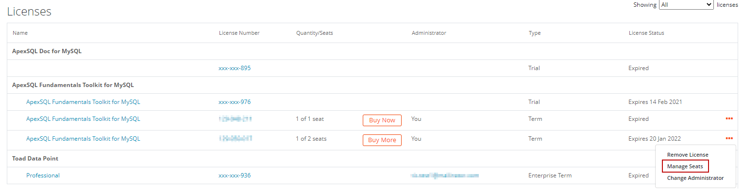 Add seats for MySQL tools
