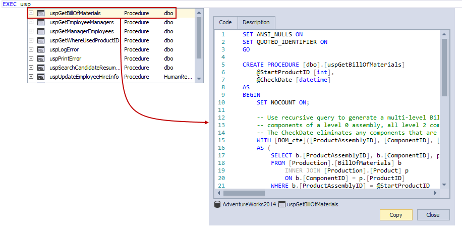 Object definition window displaying the SQL code of an object in the query editor