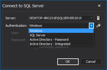 Choose SQL instance authentication in SQL index tool