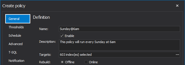 Name custom policy in SQL index tool