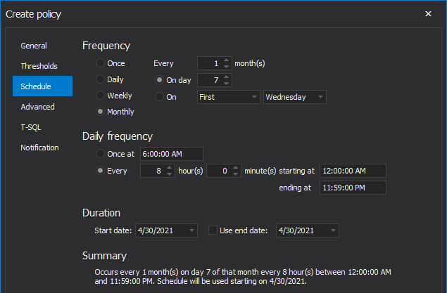 Schedule policy to run mothly in SQL index tool