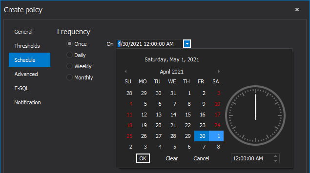 Schedule policy to run once in SQL index tool
