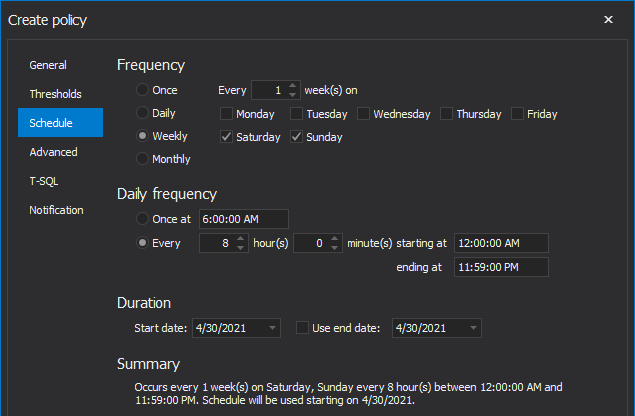Schedule policy to run weekly in SQL index tool