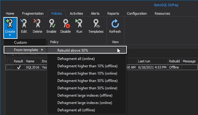 Start index policy templates in SQL index tool