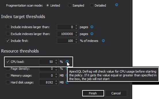 Tweak index policy templates in SQL index tool